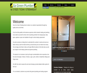 Go Green Plumbing and Heating website by Index Web Designs