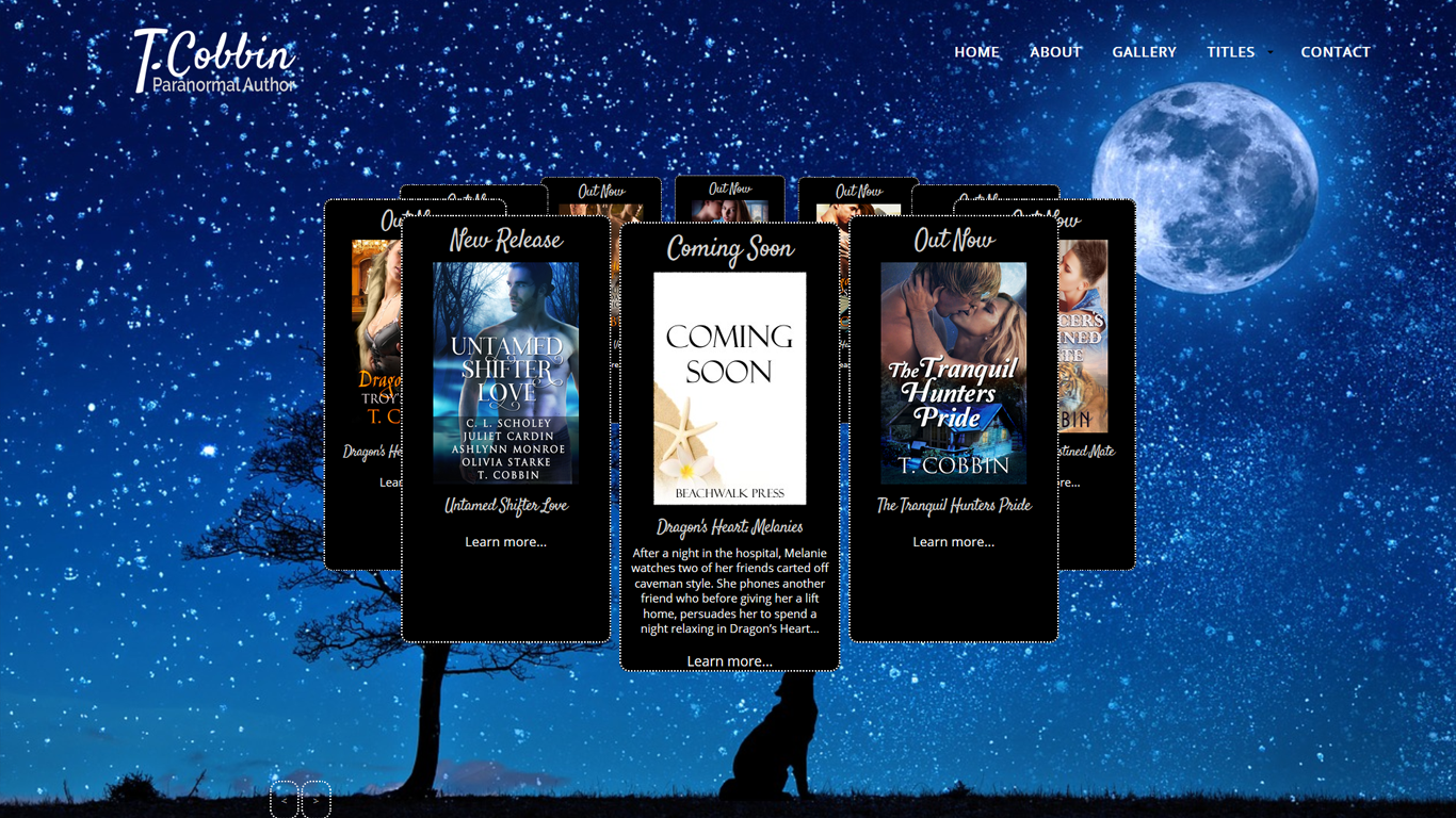 Sample of Index Web Design upcoming work for T.Cobbin a paranormal author